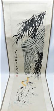 Sale 8869C - Lot 629 - Chinese Ink scroll painting of yellow necked storks with calligraphy and red seal, L131cm together with a scroll box with sliding cover