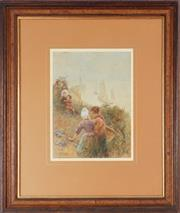 Sale 8901A - Lot 5006 - Hector Caffieri (1847 - 1932) - Onlookers by the Sea 35 x 25.5 cm