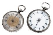 Sale 8937 - Lot 345 - TWO SILVER OPEN FACE POCKET WATCHES; white dial, Roman numerals, cylinder escapement, key wind and set case diam. 41m, hallmarked Lo...