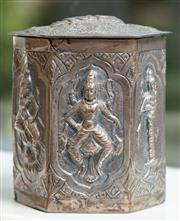 Sale 8976H - Lot 33 - A Thai/burmese hexagonal box and cover, each panel chased with hindu deities (damage to one corner) Height 8cm