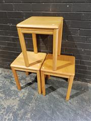 Sale 8979 - Lot 1031 - Set of Three Modern Timber Side Tables (H:51 x W:41cm2)