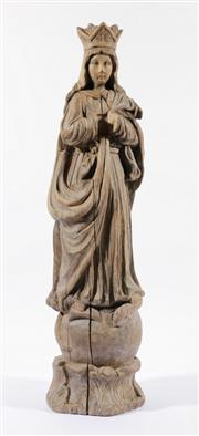 Sale 9003C - Lot 659 - Carved Timber Santo Figure of The Immaculate Conception (Missing hands) (H: 61cm)
