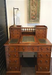 Sale 9031H - Lot 27 - Extremely Rare Antique Ladies Victorian Dickens Travel Desk made from solid English Oak with Green Leather inlay, H 105cm x W 100cm...