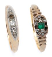 Sale 9037 - Lot 313 - TWO 18CT GOLD GEMSET RINGS; one set with 4 old cut diamonds (one missing), size J, other an emerald and rose cut diamond cluster, (a...