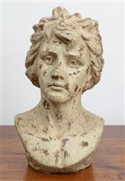 Sale 9044H - Lot 6 - A painted terracotta bust of a young man H-48cm
