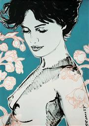 Sale 9072A - Lot 5020 - David Bromley (1964 - ) - Charlotte with Rhododendrons 89 x 64 cm (frame: 112 x 86 cm)