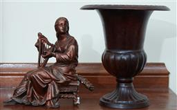 Sale 9103M - Lot 563 - A metal urn, Height 21cm, together with a cast figure of a lady, some losses.