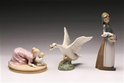 Sale 9110 - Lot 310 - Lladro figure of a goose (L 16cm) together with a lady holding pig (H 18cm) and another