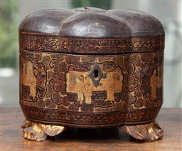 Sale 9120H - Lot 82 - A Chinese C19th gilt lacquered melon form tea caddy with lining, Height 21cm