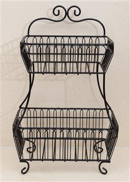 Sale 9150H - Lot 201 - A black wirework two tier fruit basket, Height 48cm