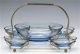 Sale 9168 - Lot 80 - Vintage glass and metal serving tray set