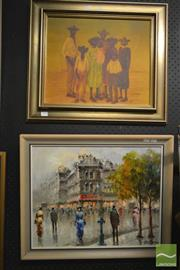 Sale 8214 - Lot 2090 - Cortese (XX) Parisian Scene oil on canvas on board, 40 x 50cm, signed & Russell Drysdale Print