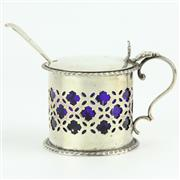 Sale 8264 - Lot 44 - English Hallmarked Sterling Silver Victorian Mustard Pot & Spoon