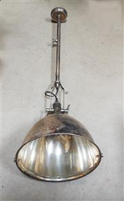 Sale 8272A - Lot 76 - An antique industrial style adjustable ceiling light in nickel silver finish. Height: 120  x  40cm