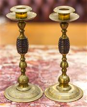 Sale 8287A - Lot 59 - A pair of  brass / timber banded candle sticks, 22cm high x 10cm base width