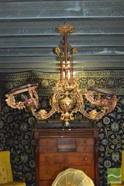 Sale 8338 - Lot 1337 - A Victorian Style Cast Iron Ceiling Lamp, with Gilt Dragons and Elaborate Detail (H 115cm)