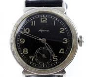 Sale 8402W - Lot 14 - ALPINA WW2 MILITARY SERVICE WRISTWATCH; black dial with Arabic numerals, subsidiary seconds, on a 15 jewell cal. 592 Swiss movement...