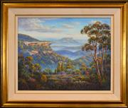 Sale 8401 - Lot 578 - John Bradley (1945 - ) - Kanangra Valley Vista 59 x 74.5cm