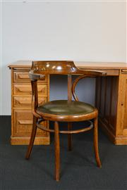 Sale 8402H - Lot 97 - A good bentwood desk armchair with green leather seat, height 82cm