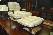 Sale 8431 - Lot 1031 - Reproduction Armchair w Matching Footstool on Cabriole Legs