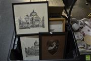 Sale 8487 - Lot 2091 - 2 Keith Reilly Prints of Flinders Street Station & Exhibition Building, Melbourne with 4 Other Works incl signed Watercolour (6)
