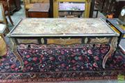 Sale 8500 - Lot 1039 - Boulle Style Bureau Plat, the engraved brass inlay on a red ground with ebonised border, fitted with three drawers & cherubs mounted...