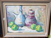 Sale 8587 - Lot 2067 - Edmund Spencer (1920 - 2014) Still Life with My Pots oil on canvas board, 29.5 x 39.5cm, signed lower right