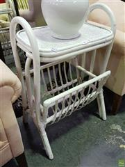 Sale 8629 - Lot 1047 - Painted Cane Side Table with Magazine Rack to Base