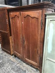 Sale 8774 - Lot 1021 - 19th Century French Cherrywood Armoire, with two shaped panel doors (key in office)