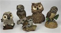 Sale 8725A - Lot 56 - A group of five pottery owls.