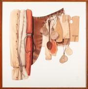 Sale 8838H - Lot 64 - Tim Storrier b.1949 - Saddle with Equipment 101 x 100cm