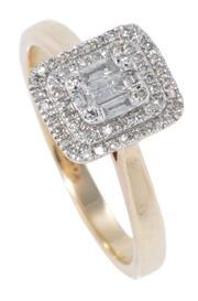 Sale 8965 - Lot 385 - A 9CT GOLD DIAMOND RING; centring a cluster of 5 baguette and 4 single cut diamonds to double surround of single cut diamonds, size...