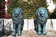 Sale 8972H - Lot 50 - A spectacular pair of bronze lions with aged patina, Height 1.12m x Depth 66cm