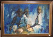 Sale 9019 - Lot 2039 - Artist Unknown Three Men at a bar, oil on board, frame: 53 x 73 cm