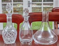 Sale 9090H - Lot 37 - Three crystal decanters. Tallest 33cm