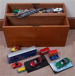 Sale 9103H - Lot 47 - A timber box containing an assortment of tin plate vehicles including cars and buses.
