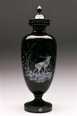 Sale 9122 - Lot 118 - Large Mary Gregory Style Black Glass Lidded Urn H:48cm
