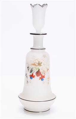Sale 9185E - Lot 131 - A handpainted milky glass decanter, Height 26cm