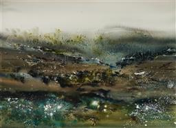 Sale 9214 - Lot 512 - GEOFF DYER (1947 - 2020) Tasmanian Visions gouache on paper 55 x 75 cm (frame: 80 x 99 x 4 cm) signed lower right