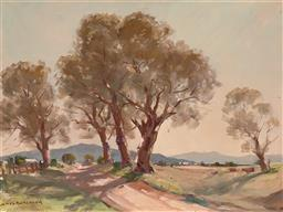 Sale 9244 - Lot 590 - JAMES R JACKSON (1882 - 1975) Cattle Grazing by the Road, Orange oil on canvas on board 29 x 39 cm (frame: 41 x 51 x 3 cm) signed lo...