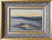 Sale 8284A - Lot 43 - James L Fitzgibbon (American 1864 - 1929) - 'Sunset over the Marsh' 20 x 31cm