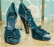 Sale 8420A - Lot 15 - A pair of designer Moschino blue velvet open toe strappy heels, size: 38, condition: pre-worn very good