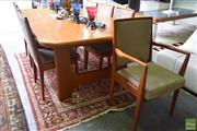 Sale 8532 - Lot 1311 - Modern Timber 9 Piece Dining Suite with Extension Table and 8 Upholstered Chairs