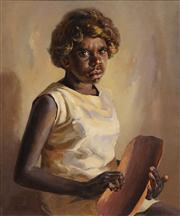 Sale 8549 - Lot 587 - Reg Campbell (1923 - 2008) - Girl with Nandy Dish 60 x 50cm