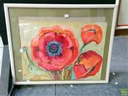 Sale 8582 - Lot 2025 - Dawn Terwheelar, Red Poppies, Watercolour SLL, 45.5x60.5