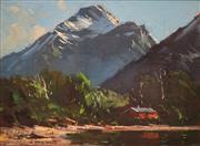 Sale 8675 - Lot 556 - Peter Beadle - Cottage in the Highlands, New Zealand 29.5 x 39.5cm