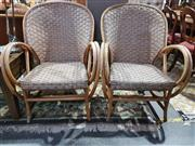 Sale 8760 - Lot 1097 - Pair of Cane Armchairs with Hoop Arms