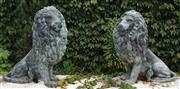 Sale 8950G - Lot 3 - Pair of Bronze Lions with aged patina  83 x 80cm