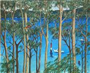 Sale 9011 - Lot 2007 - Artist Unknown View of Middle Harbour Through the Trees oil on canvas, 100 x 122cm, signed