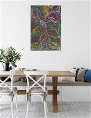 Sale 9043A - Lot 5072 - Rosemary (Pitjara) Petyarre (c1965 - ) - Yam Leaf Dreaming 91 x 61 cm (stretched and ready to hang)